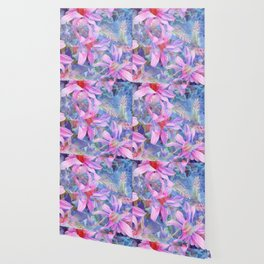 blooming pink and blue daisy flower abstract background Wallpaper