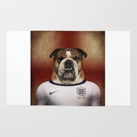 english bulldog Area & Throw Rugs featuring Worldcup 2014 : England - English Bulldog by Life on White Creative