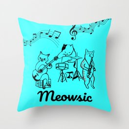 Meowsic is awesome Throw Pillow