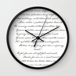 """""""Bright Star"""" - John Keats Print Wall Clock"""