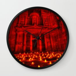 Nabatean Kingdom Petra 'Treasury' Ruins Rose City by Night Candle Ceremony Wall Clock