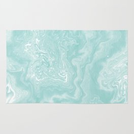 Moki - pastel mint spilled ink japanese watercolor paper marbling marble trendy abstract painting  Rug
