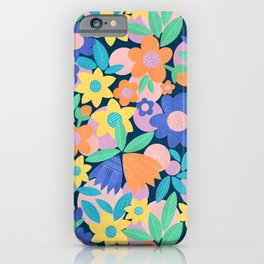 Spring Mod Flowers Pattern iPhone Case