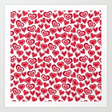 MESSY HEARTS: RED Art Print
