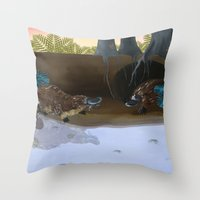 platypus Throw Pillows featuring The Platypus by Thyra