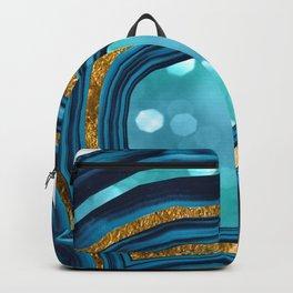 Agate Aqua Blue Gold #1 #abstract #shiny #decor #art #society6 Backpack