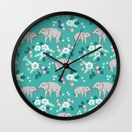 Elephants cute pattern florals good luck flowers and baby animals Wall Clock