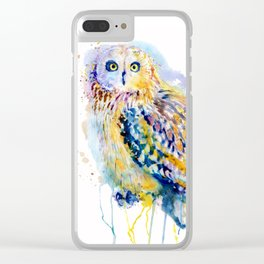 Short Eared Owl Watercolor painting Clear iPhone Case