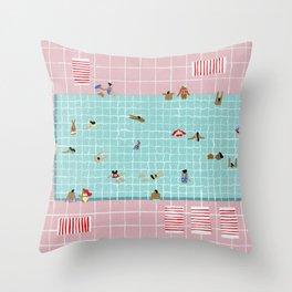Pink Tiles Throw Pillow