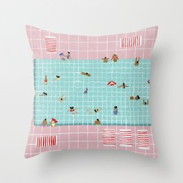 Pink Tiles Throw Pillow