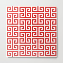 Coral Red and White Greek Key Pattern Metal Print