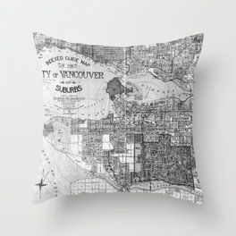 Vintage Map of Vancouver Canada (1920) BW Throw Pillow