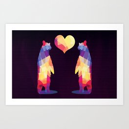 Geometric Bears - Dark Art Print
