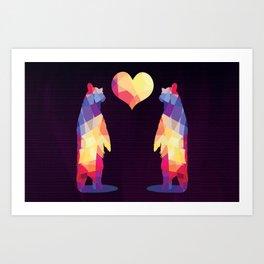 Geometric Bears - Dark Art Print
