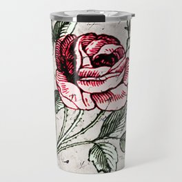 Shabby chic vintage rose and calligraphy Travel Mug