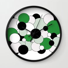 Bubbles - green, black, gray and white Wall Clock