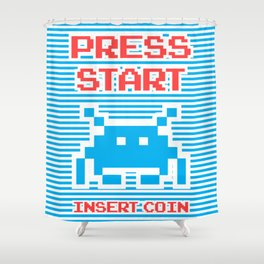 Press Start, Insert Coin (blue version) Shower Curtain