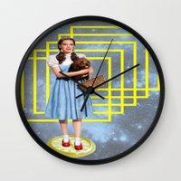 thrones Wall Clocks featuring Yellow brick road by Laura Nadeszhda