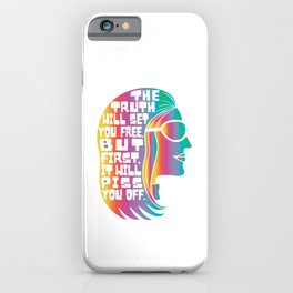 Gloria Steinem Feminist Icon Truth Quote Rainbow Colors iPhone Case