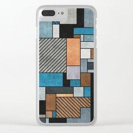 Random Concrete Pattern - Blue, Grey, Brown Clear iPhone Case