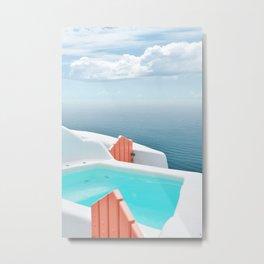 Santorini Pool Metal Print