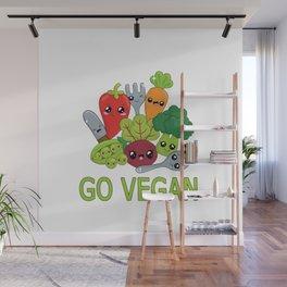 Go Vegan - Kawaii Vegetables Wall Mural
