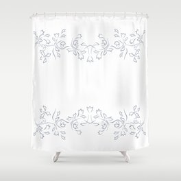 Grayish Blue White Floral Border Shower Curtain