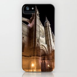 Cathedral of Palma de Mallorca at night iPhone Case