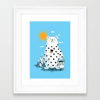 polka Framed Art Prints featuring polka bear by Steven Toang