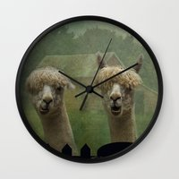farm Wall Clocks featuring Alpaca Farm by TaLins
