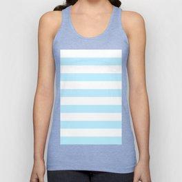 Horizontal Stripes - White and Light Blue Unisex Tank Top