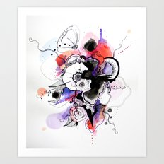 Abstract floral watercolor Art Print