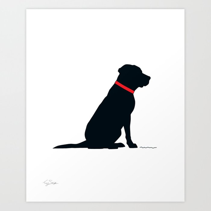 Modern Black Lab Silhouette Art Print By Tracylstephens