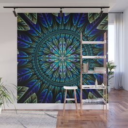 Blue fantasy flower and petals Wall Mural