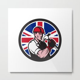 British Handyman Union Jack Flag Icon Metal Print