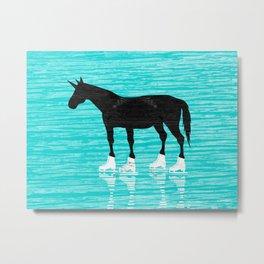 Unicorn On Ice Metal Print