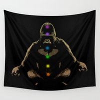 darwin Wall Tapestries featuring Ape Ascending by bronzarino