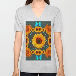 Blue Butterflies Golden Sunflowers Teal Art Unisex V-Neck