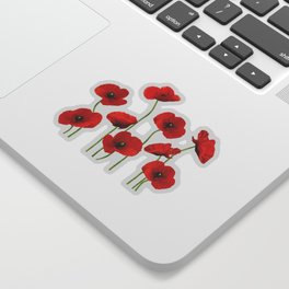 Poppies Field white background Sticker