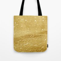 gold glitter Tote Bags featuring Glitter Gold by Alice Gosling
