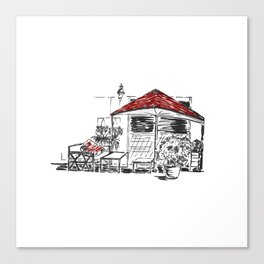 Black Red White Sketch Canvas Print