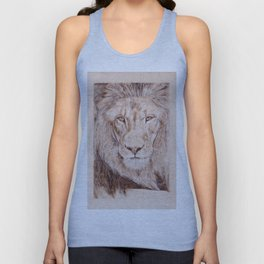 Lion Portrait - Drawing by Burning on Wood - Pyrography Art Unisex Tank Top