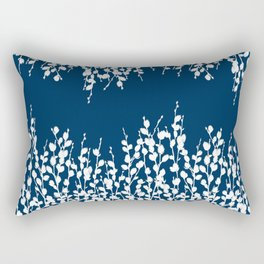 Pussywillow Silhouettes — Midnight Blue Rectangular Pillow