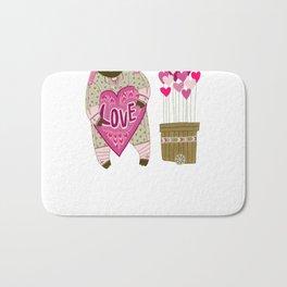 Bear with loveheart Bath Mat