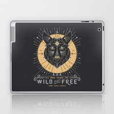 Wild & Free Wolf – Gold & Grey Laptop & iPad Skin
