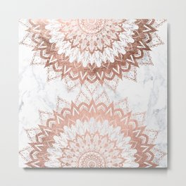 Modern chic rose gold floral mandala illustration on trendy white marble Metal Print