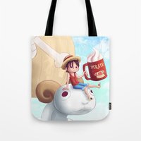 luffy Tote Bags featuring Straw Hat Luffy by Amber Graves