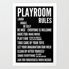 Playroom Rules Art Print