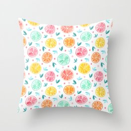 Sliced Citrus - Grapefruits, Oranges, Lemons, Limes Throw Pillow