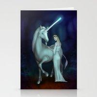 unicorn Stationery Cards featuring Unicorn by Egberto Fuentes